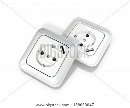 Sockets on a white background. 3D illustration