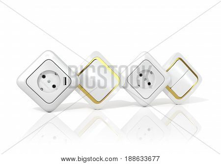 Sockets and switches on a white background. 3D illustration