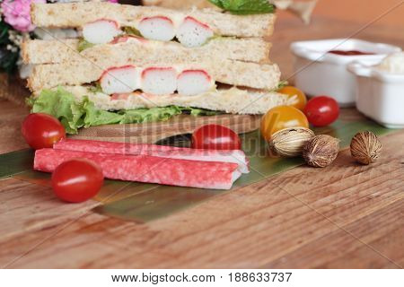 Sandwich crab stick with vegetable is tasty