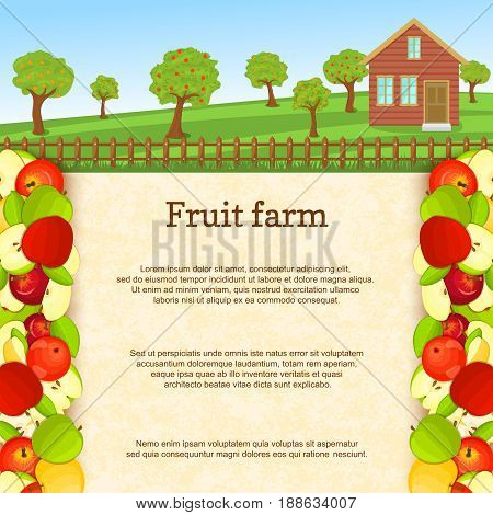 Vector illustration of a fruit farm. Juicy apple fruit border. House, fence, fruit, trees, background with paper texture for menu design, juice packaging, breakfast, diet, detox