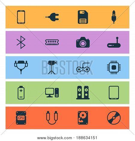 Hardware Icons Set. Collection Of Smartphone, Vga Cord, Camcorder And Other Elements. Also Includes Symbols Such As Bluetooth, Usb, Symbol.