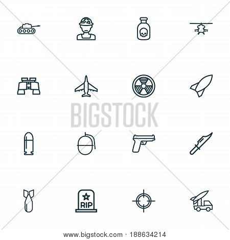 Battle Outline Icons Set. Collection Of Target, Rocket, Dynamite And Other Elements. Also Includes Symbols Such As Knife, Soldier, Target.