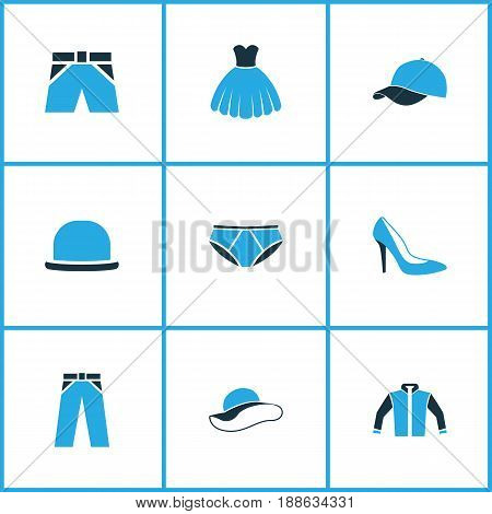 Garment Colorful Icons Set. Collection Of Jacket, Elegant Headgear, Cap And Other Elements. Also Includes Symbols Such As Fedora, Boots, Pants.