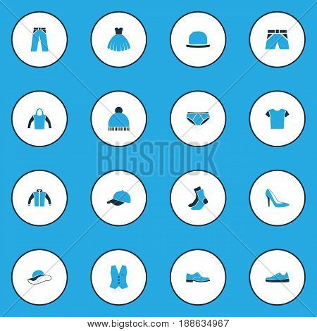 Dress Colorful Icons Set. Collection Of Panties, Sneakers, Heels And Other Elements. Also Includes Symbols Such As Shirt, Heels, Breeches.