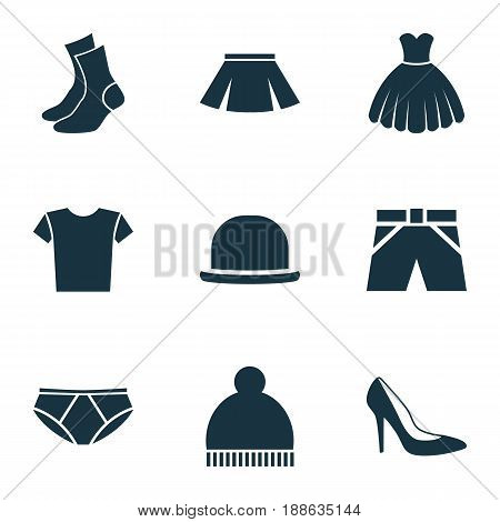 Clothes Icons Set. Collection Of Trunks Cloth, Beanie, Stylish Apparel And Other Elements. Also Includes Symbols Such As Woman, Shirt, Underpants.