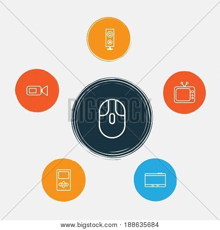 Gadget Icons Set. Collection Of Cursor Mouse, Television, Video Camcorder And Other Elements. Also Includes Symbols Such As Camcorder, Tablet, Computer.