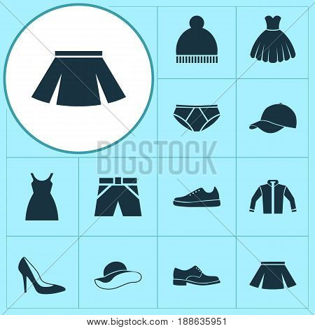 Dress Icons Set. Collection Of Elegance, Stylish Apparel, Sarafan And Other Elements. Also Includes Symbols Such As Sarafan, Hat, Beanie.