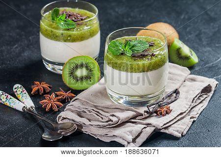 Fruit Dessert Green Panna Cotta