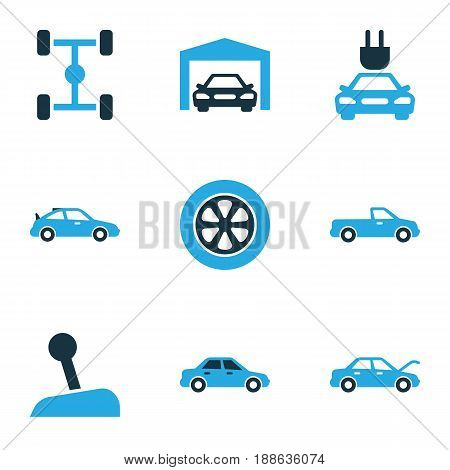 Car Colorful Icons Set. Collection Of Garage, Auto Hood, Electric Car And Other Elements. Also Includes Symbols Such As Wheelbase, Garage, Carriage.