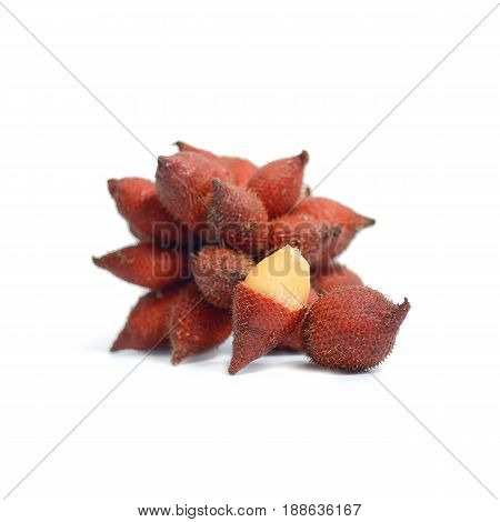 Tropical Fruit : Salak Snake Fruit Isolated On White Background