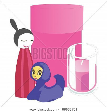 Souvenirs and home accessories candle and pink box. Vector illustration