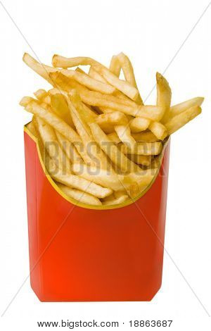 French fries in red  box isolated on white with clipping path