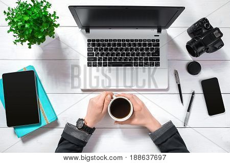 Overhead view of businesswoman working at computer in office. Place for your text. Ideal for blog. flat lay on white background