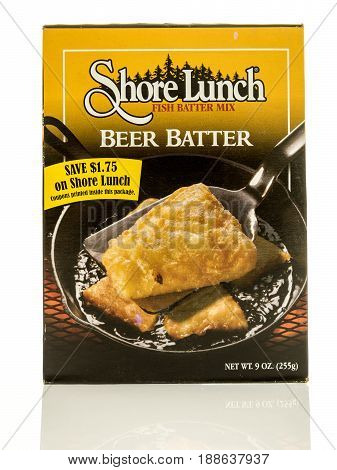 Winneconne WI - 13 May 2017: A box of Shore Lunch fish beer batter mix on an isolated background.