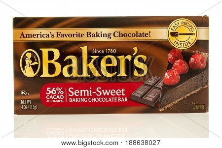Winneconne WI - 13 May 2017: A box of Baker's semi sweet baking chocolate bar on an isolated background.