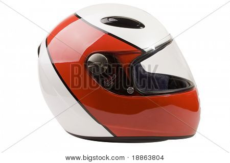 Modern motorcycle helmet isolated on white with clipping path