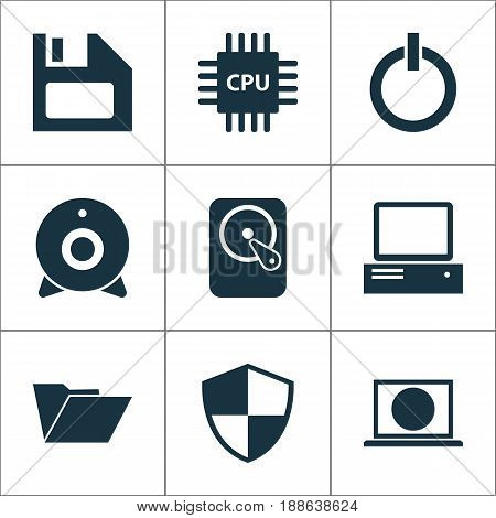Gadget Icons Set. Collection Of Defense, Diskette, Dossier And Other Elements. Also Includes Symbols Such As Start, Protection, Diskette.