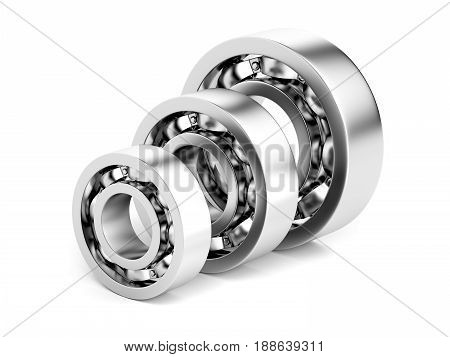 Ball bearings with different sizes on white background, 3D illustration