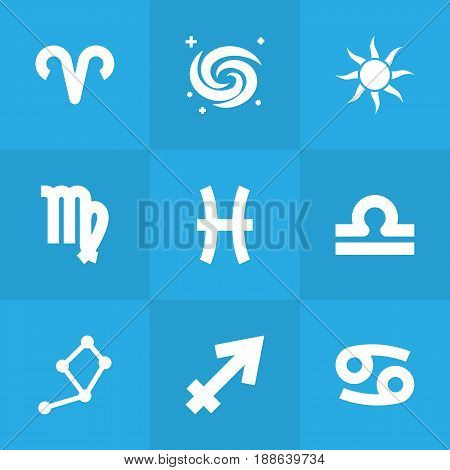 Set Of 9 Astronomy Icons Set.Collection Of Fishes, Archer, Space And Other Elements.