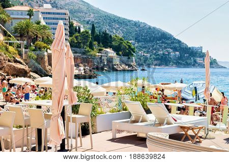Shelters And Deckchairs On Beach At Adriatic Sea Dubrovnik