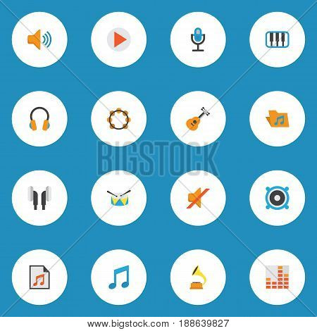 Audio Flat Icons Set. Collection Of Quiet, Controlling, Media And Other Elements. Also Includes Symbols Such As Gramophone, Earmuff, Rhythm.