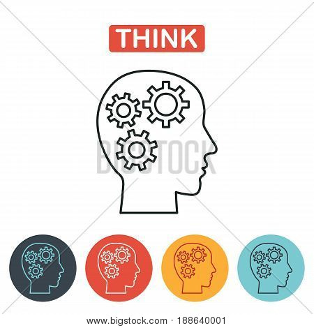 Head icon. Pictograph of gear in head. Brain gears in the head, human thinking concept. Vector line icon.