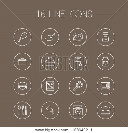 Set Of 16 Cooking Outline Icons Set.Collection Of Hamburger, Hat, Omelette And Other Elements.