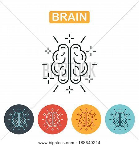 Brain icon. Abstract  human brain logo set in different colors. Brain, mind or intelligence line art icon for apps and websites.