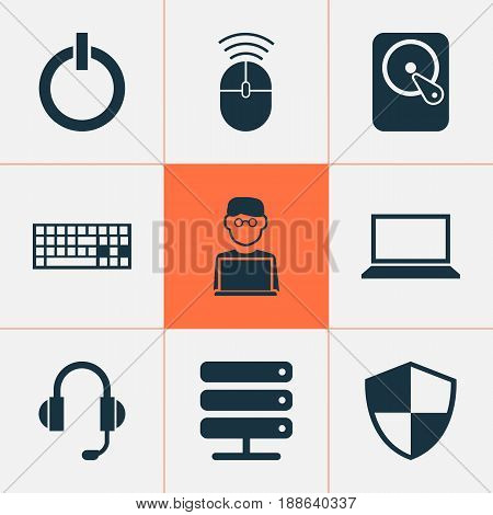 Digital Icons Set. Collection Of Keypad, Hdd, Earphone And Other Elements. Also Includes Symbols Such As Mouse, Laptop, Hard.