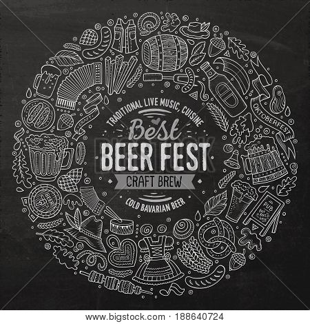Chalk board vector hand drawn set of Beer fest cartoon doodle objects, symbols and items. Round frame composition