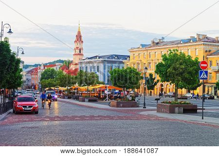 Street With People And Spire Of Orthodox Church St Nicholas