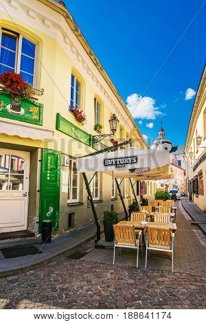 Street Cafe At Dominican Church Of Holy Spirit In Vilnius