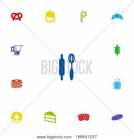 Set Of 13 Food Icons Set.Collection Of Doughnut, Dessert, Measurement And Other Elements.