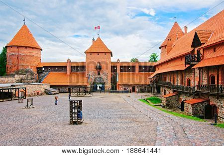Tourists In Trakai Island Castle Museum During Day Time