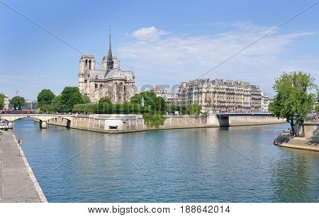 landscape of Paris with monument from riverbank