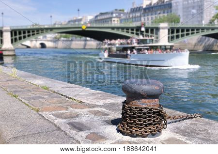close on mooring dock on the banks of the Seine in Paris