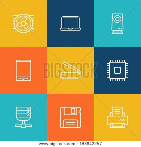 Set Of 9 Laptop Outline Icons Set.Collection Of Tablet, Cooler, Cpu And Other Elements.