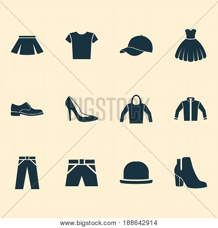 Garment Icons Set. Collection Of Sweatshirt, Female Winter Shoes, Stylish Apparel And Other Elements. Also Includes Symbols Such As Panama, Female, Clothes.
