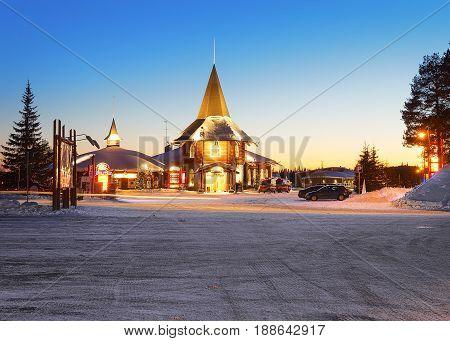 Santa Claus Holiday Village Lapland At Dusk