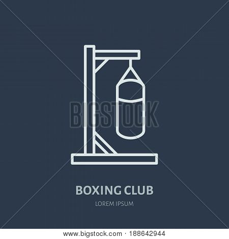 Boxing vector line icon. Punching bag logo, equipment sign. Sport competition illustration.