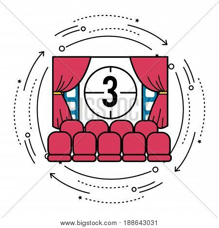 cinema room with film countdown number 3, vector illustration