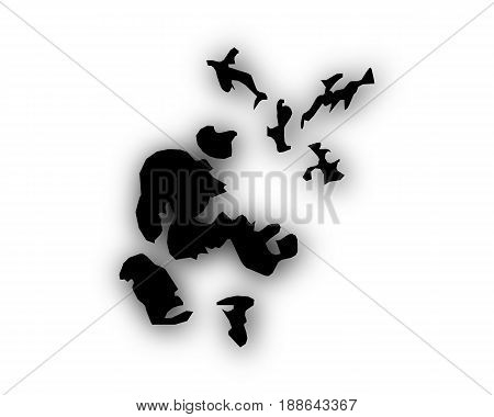 Map Of Orkney Islands With Shadow