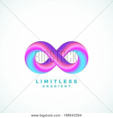 Abstract Vector Infinity Symbol with Modern Gradient and Typography. Isolated.