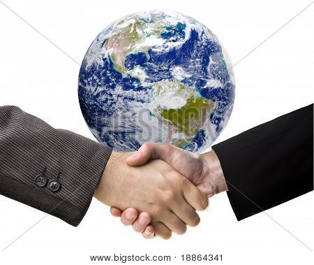 Business handshake over Earth image on white background