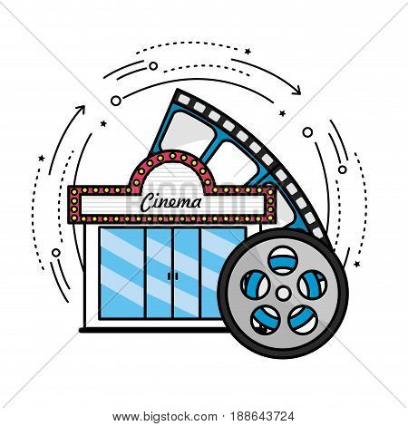 cinema with reel scene to filmstrip, vector illustration