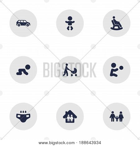 Set Of 9 People Icons Set.Collection Of Rocking Chair, Automobile, Perambulator And Other Elements.