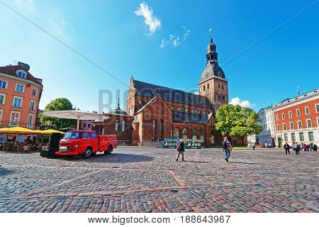 Dome Square With Riga Cathedral In Old Town Of Riga