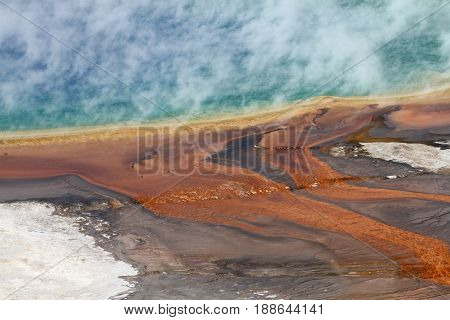 Steaming Grand Prismatic Spring in the Yellowstone NP