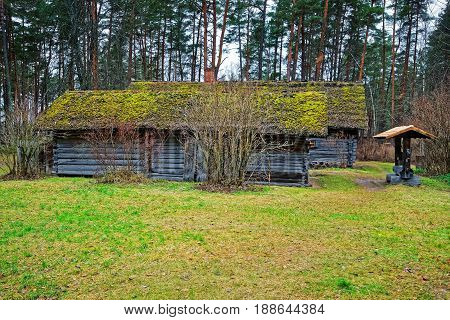 Old Wooden House At Ethnographic Open Air Village Of Riga