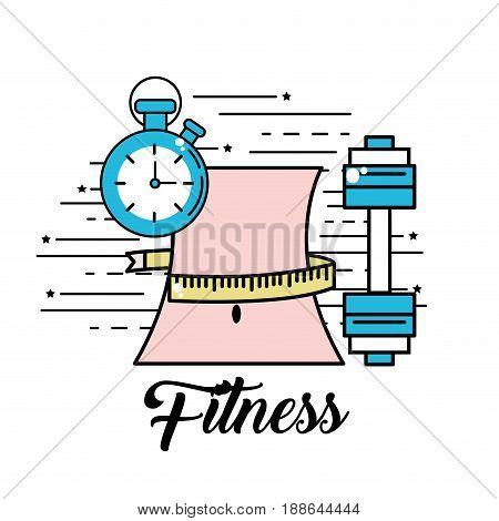 waist with meter and choronometer with dumbbell, vector illustration